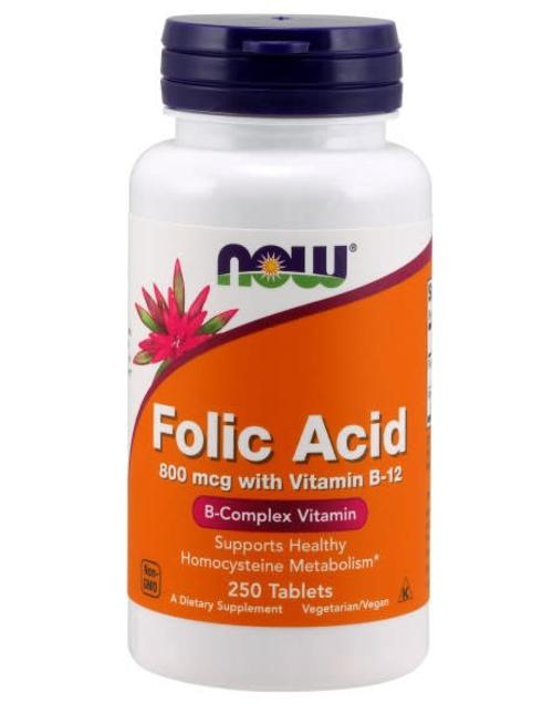 NOW FOODS FOLIC ADIC 800mcg w/ B-12 250 Tablets