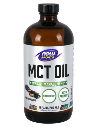 NOW SPORTS MCT OIL - VANILLA HAZELNUT FLAVOR 16 FL OZ