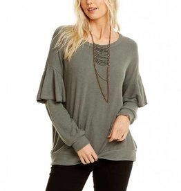 knit l/s ruffle tier dolman pullover