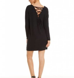 love knit l/s drop shoulder lace up back dress