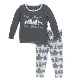 kickee pants london dogs print long sleeve pajama set