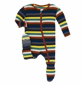 kickee pants dark london stripe print footie with zipper