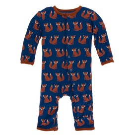kickee pants navy fox print coverall with snaps