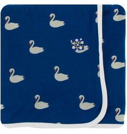 kickee pants navy queens swans print swaddling blanket