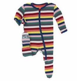 kickee pants bright london stripe print footie with zipper