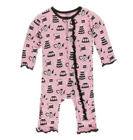 kickee pants teatime print muffin ruffle coverall with snaps