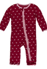 kickee pants candy apple rose bud print mufin ruffle coverall with snaps