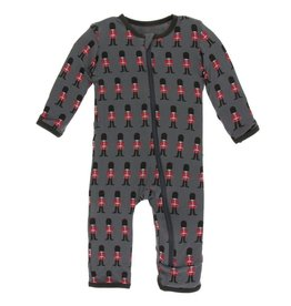 kickee pants queens guard print coverall with snaps