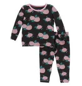 kickee pants english rose garden print long sleeve pajama set