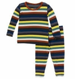 kickee pants dark london stripe print long sleeve pajama set