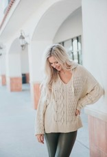 vintage havana contrast cable knit hoodie