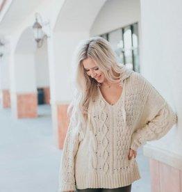 vintage havana contrast cable knit hoodie FINAL SALE
