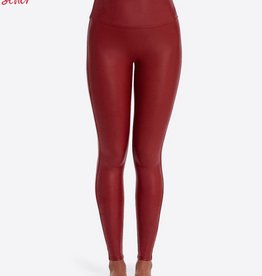 spanx crimson faux leather leggings