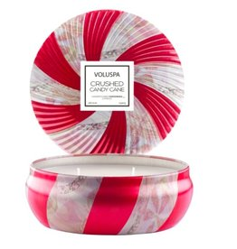 voluspa crushed candy cane 3 wick candle in decorative tin