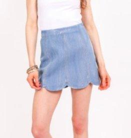 very j scalloped denim skirt