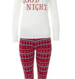 kickee pants womens print long sleeve fitted pajama set - nordic print