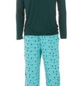 kickee pants mens holiday long sleeve pajama set - glacier holiday lights