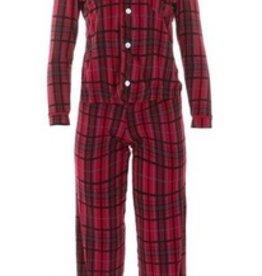 kickee pants women print long sleeve collared pajama set - Christmas plaid