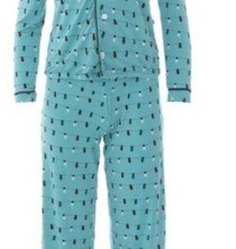 kickee pants women print long sleeve collared pajama set - glacier lights