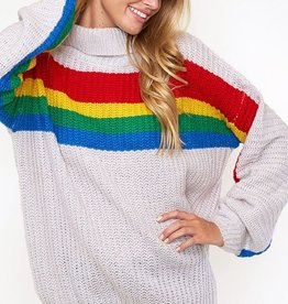 rainbow stripe chunky sweater