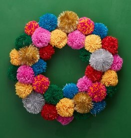 two's company multicolor pom pom wreath
