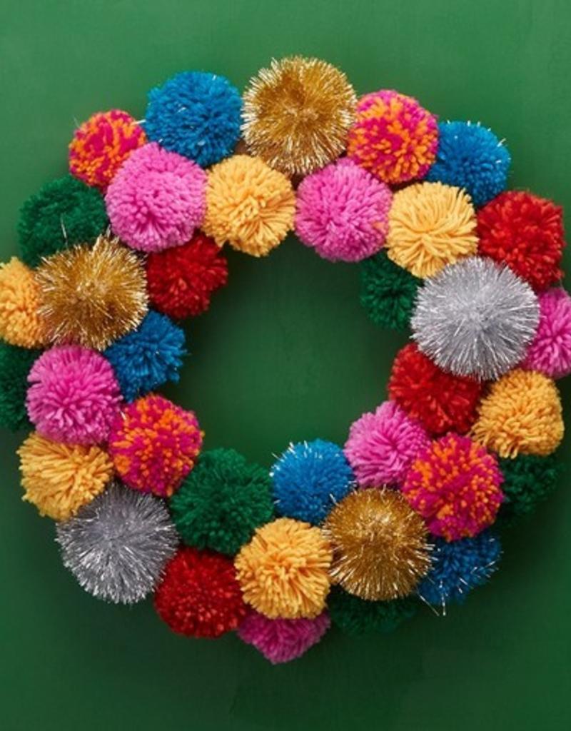 two's company multicolor pom pom wreath