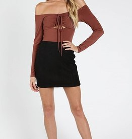 high waisted mini skirt with back zipper