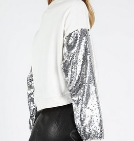 wild honey crewneck top with sequin sleeves