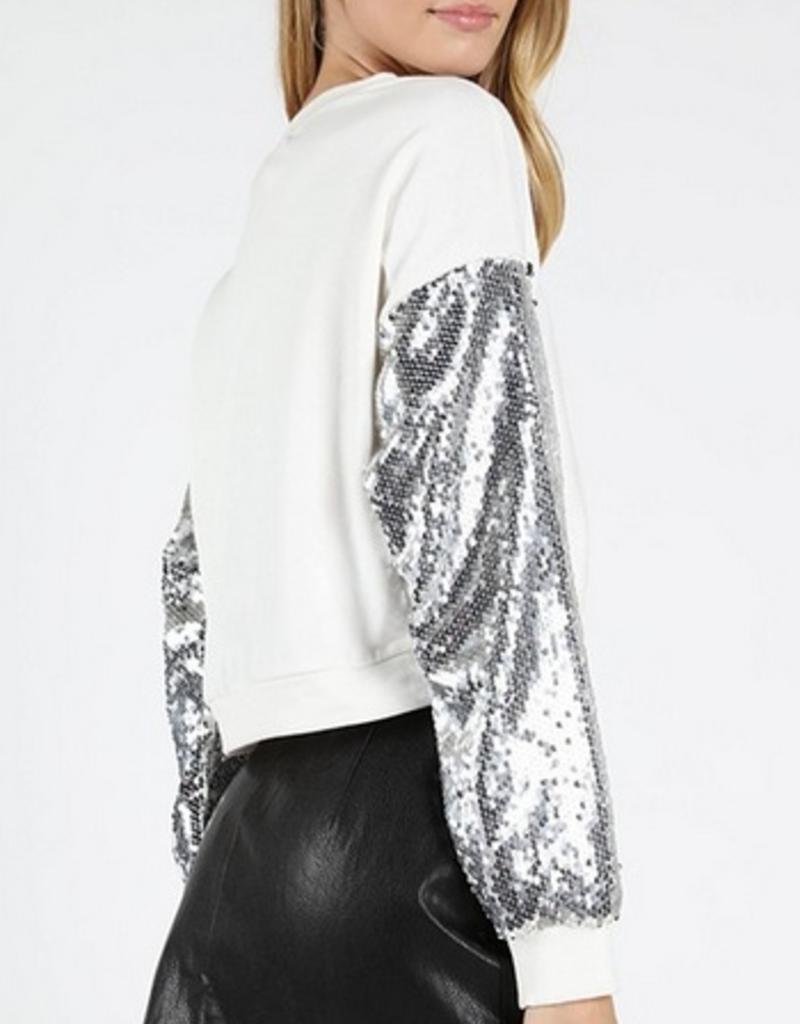 wild honey crewneck top with sequin sleeves