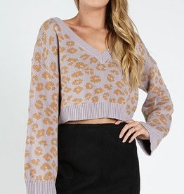 leopard knit v neck top