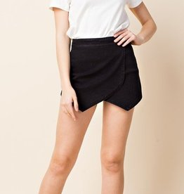high waisted asymmetrical short with back zipper