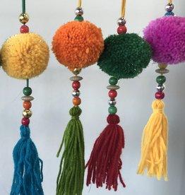 two's company multicolor pom pom ornament