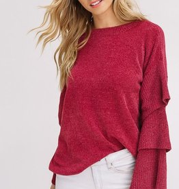 chenille layered sleeved sweater