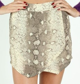 wild honey snake print wrap shorts