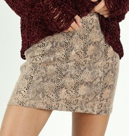 high waisted faux snake skin mini skirt