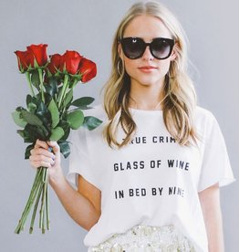 friday + saturday true crime, glass of wine tee