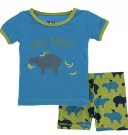 kickee pants meadow capybara short sleeve pajama set with shorts