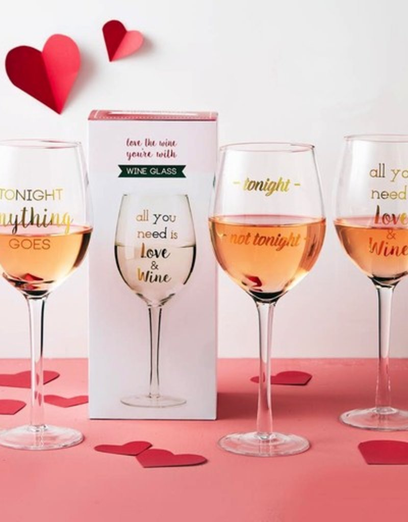 two's company wine glass in gift box FINAL SALE