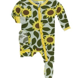 kickee pants aloe sunflower ruffle footie with zipper