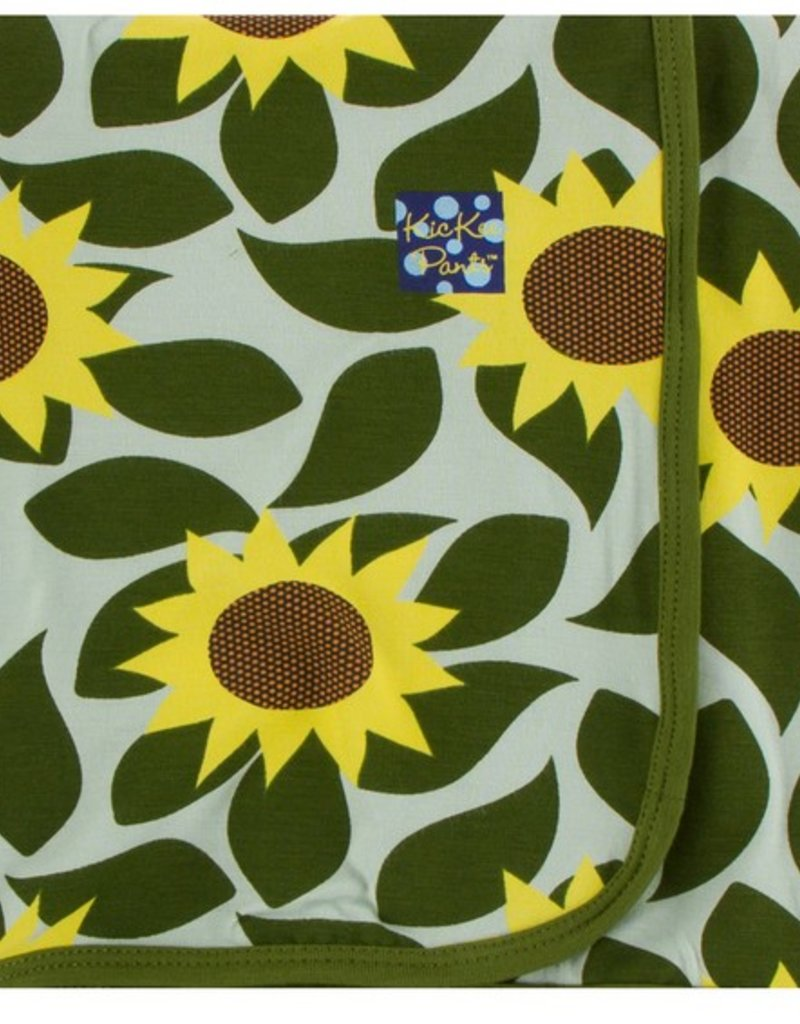 kickee pants aloe sunflower swaddling blanket