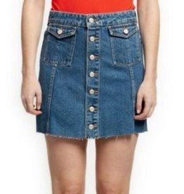 dex denim button front skirt