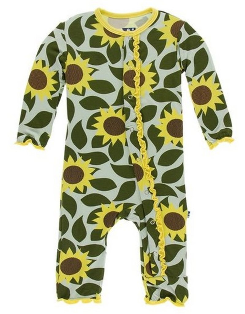kickee pants aloe sunflower muffin ruffle coverall with snaps