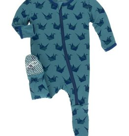 kickee pants seagrass origami crane footie with zipper