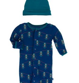 kickee pants navy lantern festival gown converter and knot hat set