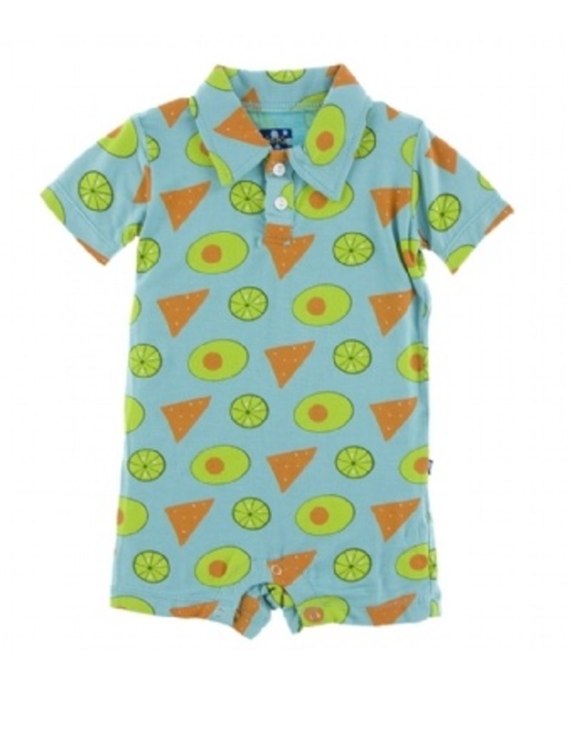 kickee pants avocado chips and lime short sleeve polo romper
