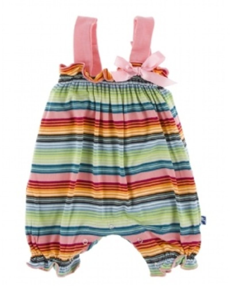 kickee pants cancun strawberry stripe gathered romper with bow