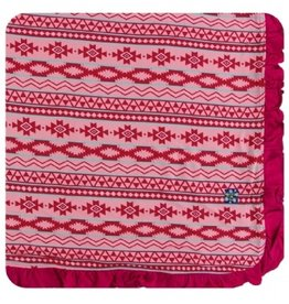 kickee pants strawberry mayan pattern ruffle toddler blanket