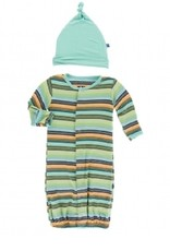 kickee pants cancun glass stripe gown converter and knot hat set