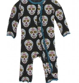 kickee pants dia de los muertos muffin ruffle coverall with snaps
