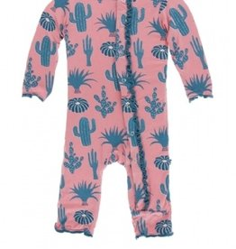 kickee pants strawberry cactus muffin ruffle coverall with snaps